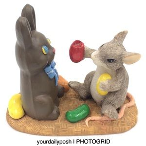 Charming Tails Want a Bite Easter mouse figurine